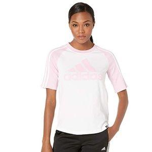 Adidas Sport Baseball Tee White/Pink Women Top